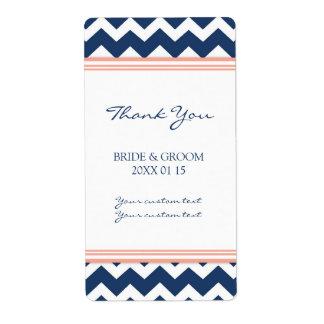 Blue Coral Chevron Wedding Labels