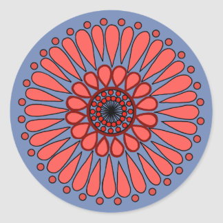 Blue - Coral Double Sunflower Mandala Classic Round Sticker