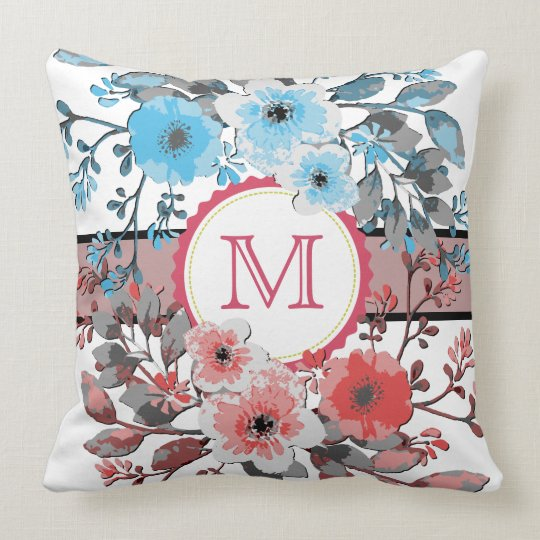 Blue Coral Floral Vintage Monogram Throw Pillow