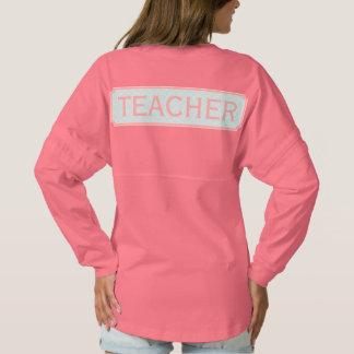 Blue + Coral Monogram Apple Quatrefoil Teacher Spirit Jersey