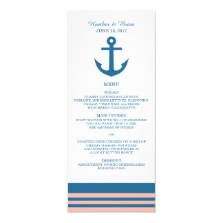"Blue Coral Nautical Anchor Wedding Menu 4"" X 9.25"" Invitation Card"