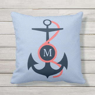 Blue & Coral Nautical Boat Anchor Throw Pillow