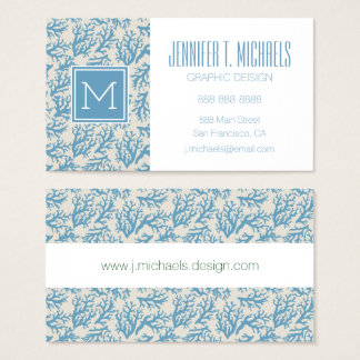 Blue Coral Pattern Business Card