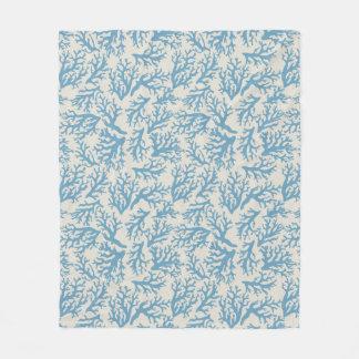 Blue Coral Pattern Fleece Blanket