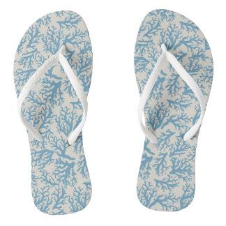 Blue Coral Pattern Flip Flops