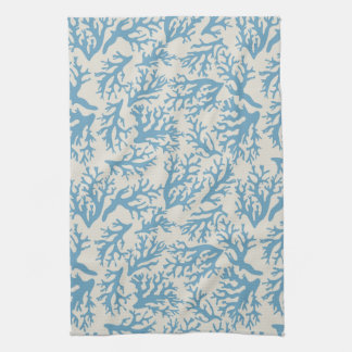 Blue Coral Pattern Hand Towel
