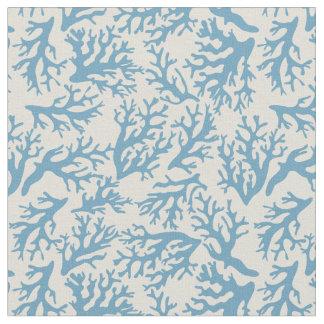 Blue Coral Pattern   Monogram Fabric