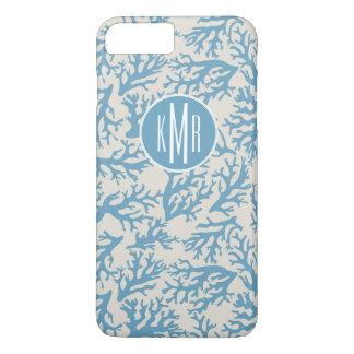 Blue Coral Pattern   Monogram iPhone 8 Plus/7 Plus Case