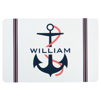 Blue & Coral-Red Nautical Boat Anchor Stripes Floor Mat