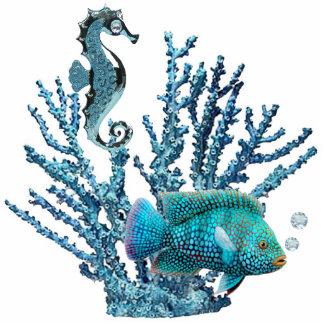 Blue Coral Reef Sculpture Standing Photo Sculpture
