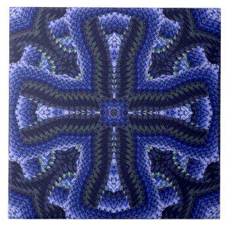 Blue Corded Motif Tile