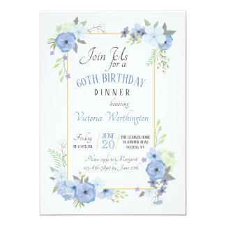 Blue Corner Flowers Invitation