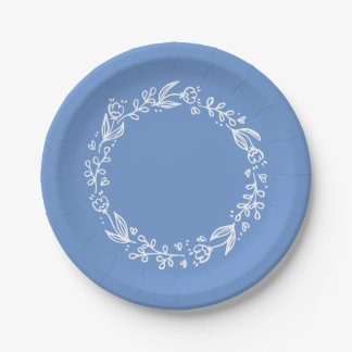 Blue Cornflower Floral Flower Wreath Wedding Paper Plate