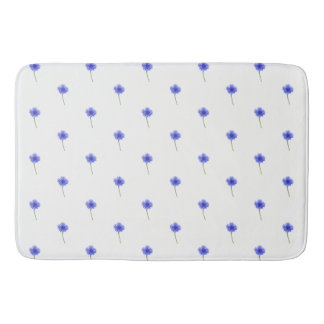 blue cornflower pattern bath mat