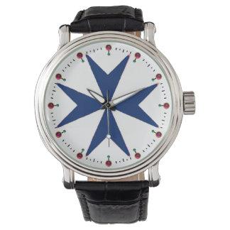 BLUE CORSAIR STYLE Octagon Cross Wrist Watch