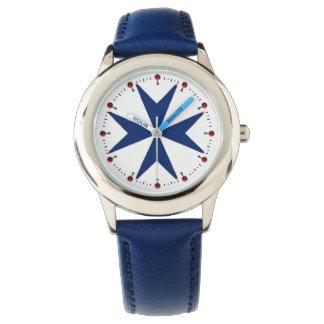 BLUE CORSAIR STYLE Octagon Cross Wristwatch