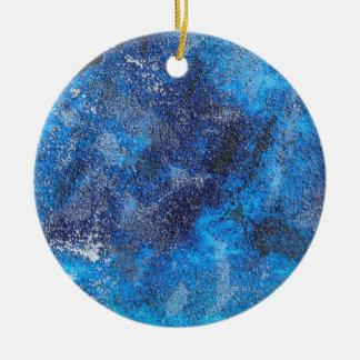 Blue Cosmos #1 Round Ceramic Ornament