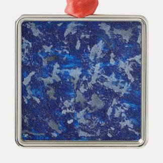 Blue Cosmos #3 Silver-Colored Square Ornament