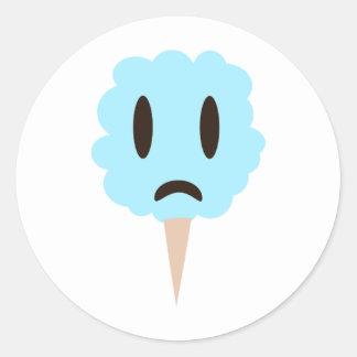 Blue cotton candy round sticker