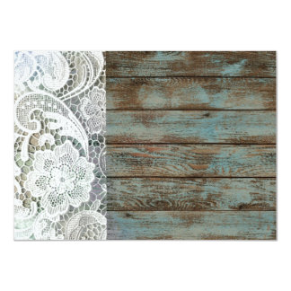 blue country lace barnwood vintage birthday party card