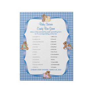 Blue Country Plaid with Baby Bears  - Shower Game Notepad
