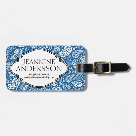 Blue Country Western Bandana Style Paisley Pattern Luggage Tag