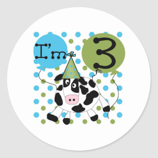 Blue Cow 3rd Birthday Round Sticker