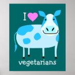 Blue Cow Vegetarian Poster