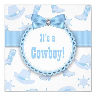 Blue Cowboy Baby Boy Shower Card