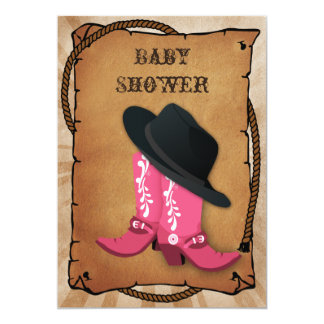 blue cowboy boots western Baby shower Card