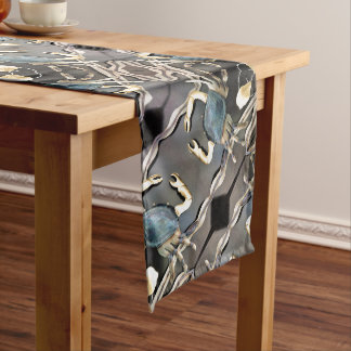 Blue Crab Abstract Art Long Table Runner