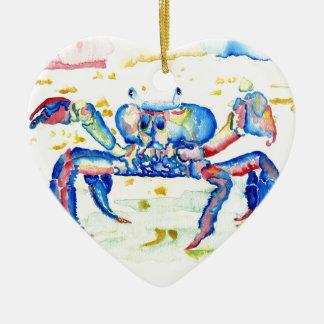 Blue Crab Ceramic Heart Ornament