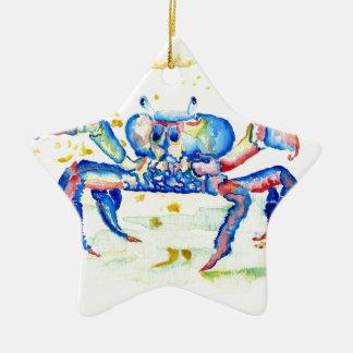 Blue Crab Ceramic Star Ornament