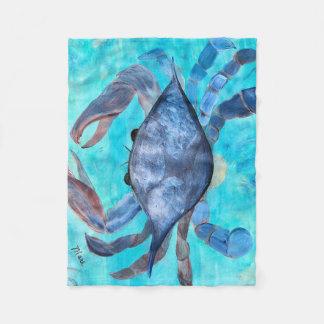 Blue crab fleece throw blanket