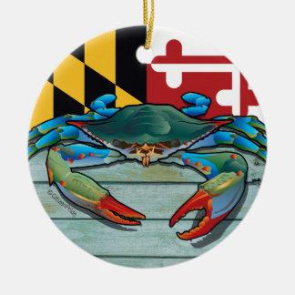 Blue Crab Maryland Ceramic Ornament