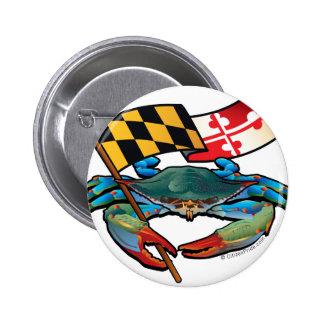 Blue Crab Maryland flag 2 Inch Round Button