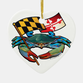 Blue Crab Maryland flag Ceramic Heart Ornament