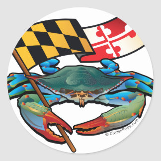 Blue Crab Maryland flag Classic Round Sticker