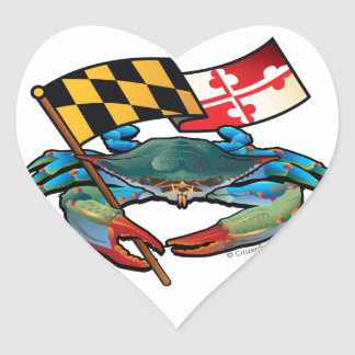 Blue Crab Maryland flag Heart Sticker