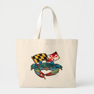 Blue Crab Maryland flag Large Tote Bag