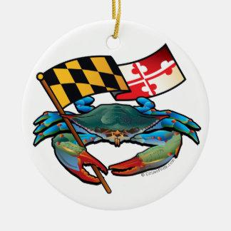 Blue Crab Maryland flag Round Ceramic Ornament