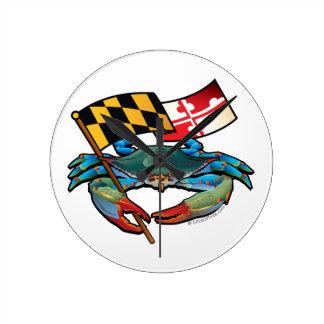 Blue Crab Maryland flag Round Clock