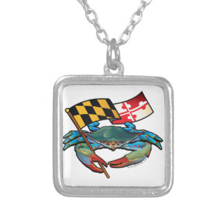Blue Crab Maryland flag Silver Plated Necklace