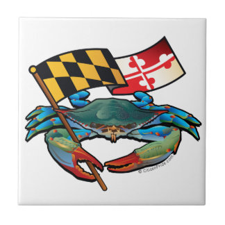 Blue Crab Maryland flag Tile