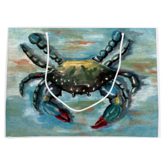 Blue Crab on Blue Large Gift Bag