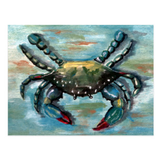 Blue Crab on Blue Postcard