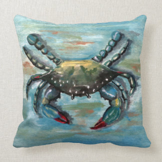 Blue Crab on Blue Throw Pillow