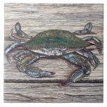 Blue Crab on Dock Ceramic Photo Tile