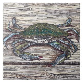 Blue Crab on Dock Ceramic Photo Tile