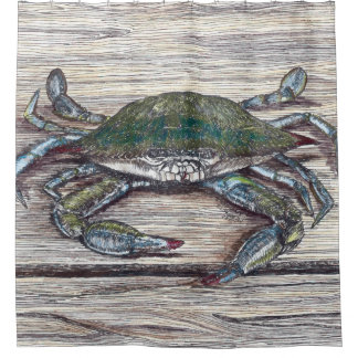 Blue Crab on Dock Shower Curtain